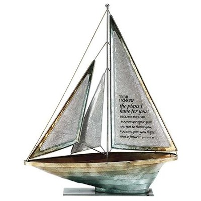 For I Know the Plans Metal Sailboat, Large  -