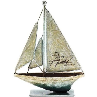 He Shall Direct Your Paths Metal Sailboat, Small  -