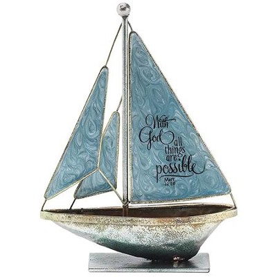 With God, All Things Are Possible Metal Sailboat, Small  -