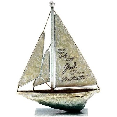 The Man Who Walks With God Metal Sailboat, Small  -