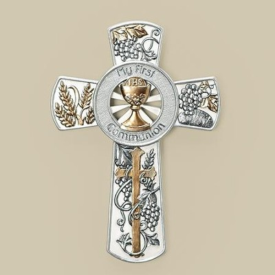 My First Communion Wall Cross, Gold and Silver  -