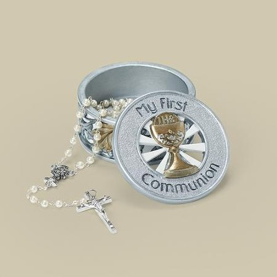 My First Communion Keepsake Box, Gold and Silver  -