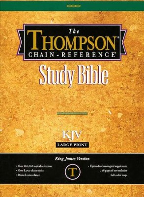 KJV Thompson Chain-Reference Bible, Large Print, Burgundy  Bonded Leather, Thumb Indexed - Imperfectly Imprinted Bibles  -