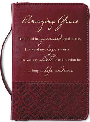 Amazing Grace Italian Duo-Tone Rich Red Cover, Large  -     By: Zondervan