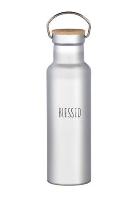 Blessed Stainless Steel Water Bottle with Bamboo Top  -