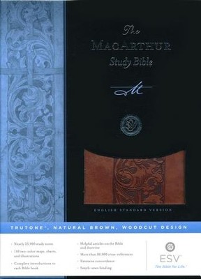 ESV MacArthur Study Bible, TruTone, Natural Brown, Woodcut Design  -