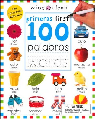 First 100 Words Bilingual Spanish/English, Wipe Clean  -