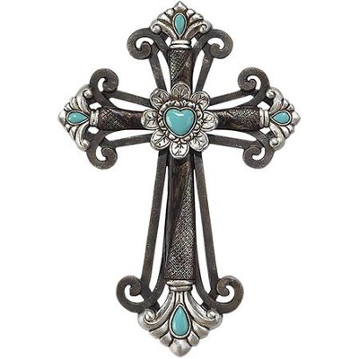 Budded Wall Cross, Turquoise  -