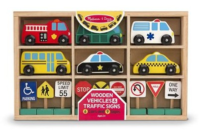 Wooden Vehicles and Traffic Signs   -