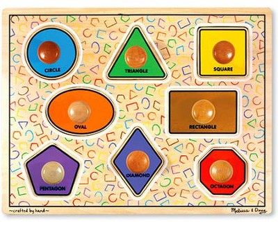 Geometric Shapes Jumbo Knob Puzzle   -     By: Melissa & Doug