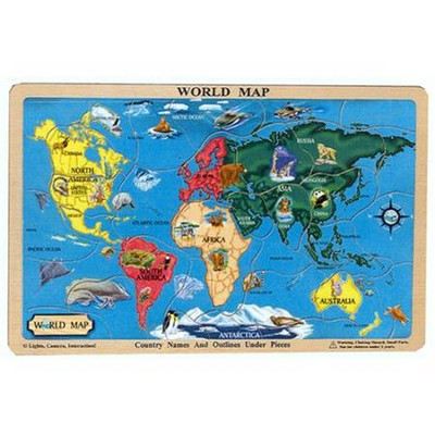 World Map, Wooden Jigsaw Puzzle with tray   -     By: Melissa & Doug