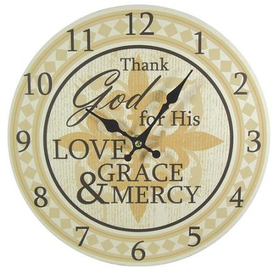 Thank God For His Love Wall Clock, Canvas  -