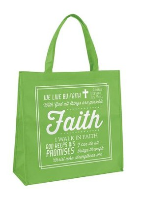 Faith Tote Bag, Green  -