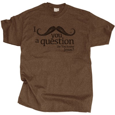 I Mustache You A Question Shirt, Brown, Small  -