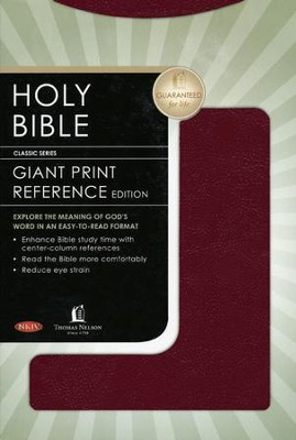 Holy Bible: NKJV Giant Print Reference - Burgundy - Leatherflex - Slightly Imperfect  -