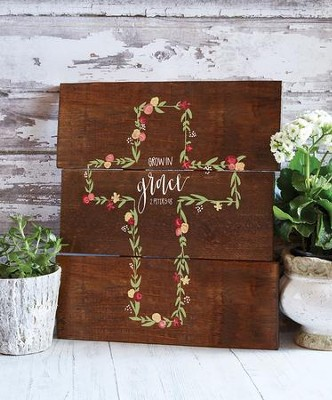 Grow In Grace, Cross, Wall SiGN  -     By: Unika Collections