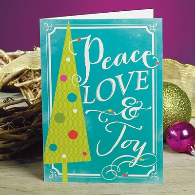 Peace Love Joy Christmas Cards, Package of 25  -