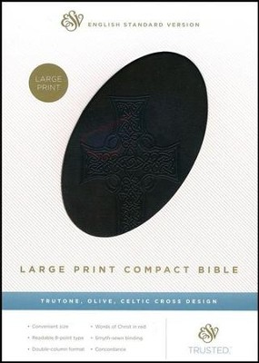 ESV Large Print Compact Bible, Olive Imitation leather with Celtic Cross Design  -