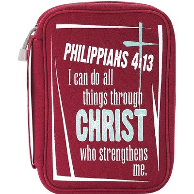 I Can Do All Things Bible Cover, Red, Large  -