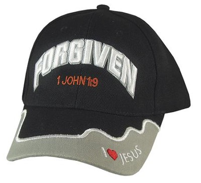 Forgiven Cap, 1 John 1:9, Black  -