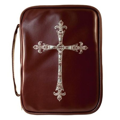 Fancy Cross Bible Cover, Red and Brown, Large  -