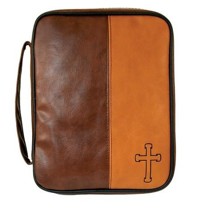 Cross Bible Cover, Brown, Large  -