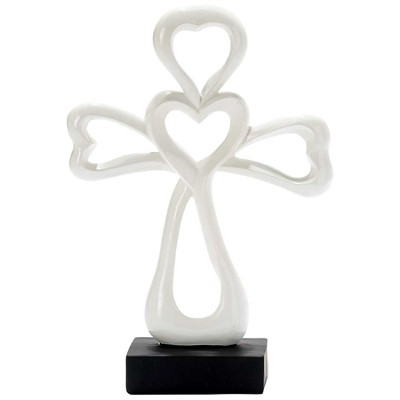 Tabletop Cross with Heart, White  -