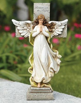 Memorial Angel Cross Statue  -