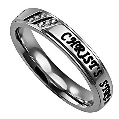 Christ My Strength Girls Luxury Women's Ring, Size 9 (Philippians 4:13)  -