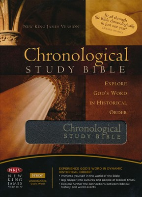 The NKJV Chronological Study Bible, Distressed Charcoal Bonded Leather  -