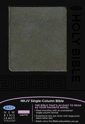 NKJV Single-Column Text Bible--bonded leather,  distressed black  -