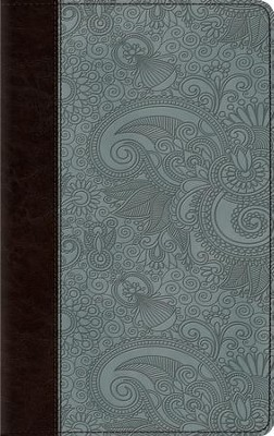 ESV Thinline Bible, TruTone Imitation Leather, Chocolate/Blue, Garden Design  -
