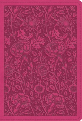ESV Large Print Compact Bible, TruTone Imitation Leather, Berry, Floral Design  -