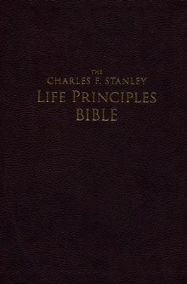 NASB Charles F. Stanley Life Principles Bible, Large Print Imitation leather, Burgundy (indexed)  -     By: Charles F. Stanley