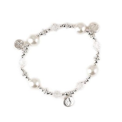 Baptized in Christ, Cross, Dove, Teardrop Stretch Bracelet  -