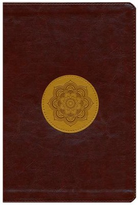 ESV Large-Print Thinline Reference Bible--soft leather-look, chocolate/goldenrod with emblem design  -