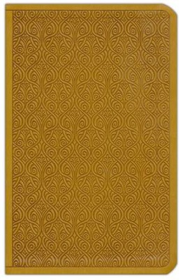 ESV Premium Gift Bible--soft leather-look, goldenrod with vine design  -