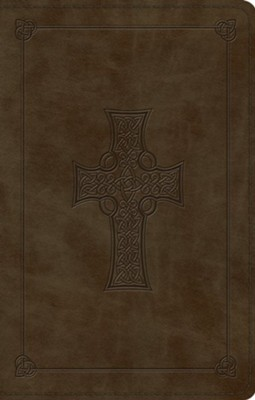 ESV Premium Gift Bible--soft leather-look, olive with Celtic cross design  -