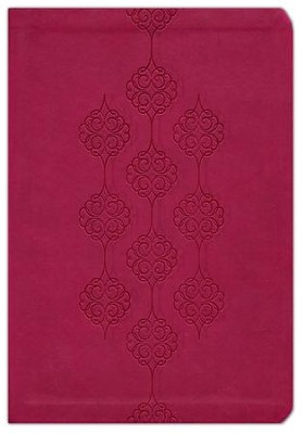 KJV Giant Print Center Column Reference Bible, Leathersoft, cranberry  -