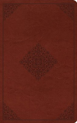 ESV Value Thinline Bible--soft leather-look, tan with ornament design  -