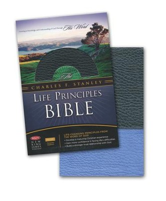 NKJV Charles F. Stanley Life Principles Bible, Leathersoft, Blue Jay and Black, Indexed - Imperfectly Imprinted Bibles  -