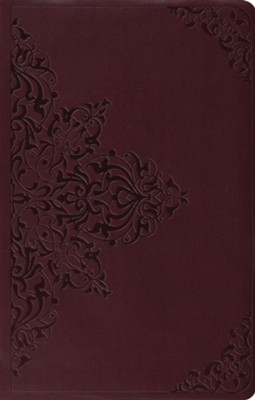 ESV Premium Gift Bible--soft leather-look, chestnut with filigree design  -