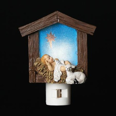 Babe and Lamb in Stable Night Light  -