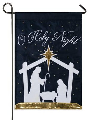 O Holy Night, Nativity Silhouette Flag, Small  -