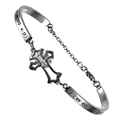 Christ My Strength, Cubic Zirconium Cross Bracelet, Adjustable   -