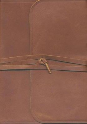 ESV Study Bible (Brown, Flap with Strap) Natural Leather  -