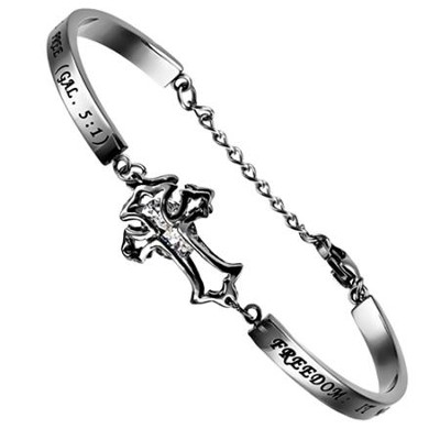 Freedom Girls Cubic Zirconium Cross Bracelet, Adjustable (Galatians 5:1)  -