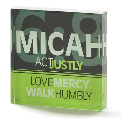 Micah 6:8, Act Justly, Love Mercy, Walk Humbly Glass Block  -
