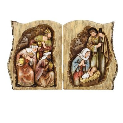 Log Book with Nativity Scene Figurine  -