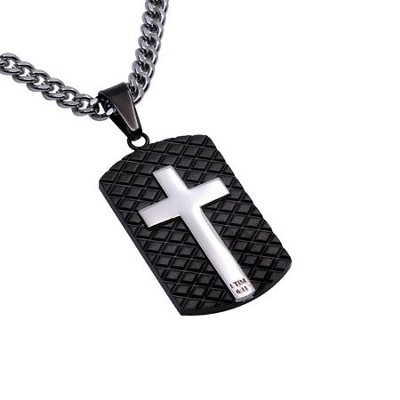 Man of God Diamond Back Shield Cross Necklace, Black  -